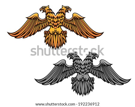 Double eagle mascot for heraldry or tattoo design. Vector version also available in gallery - stock photo