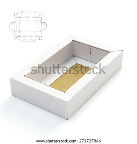 Double Edge Tray Box with Die cut Template - stock photo