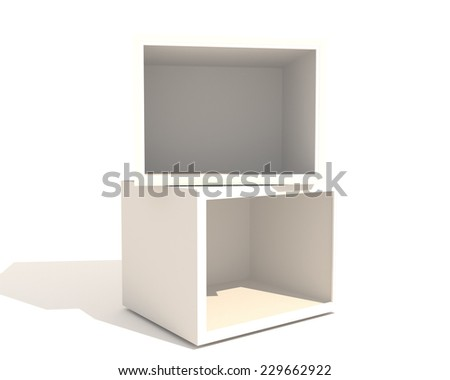 Double Empty Showcase of a shop with white box on white background - stock photo