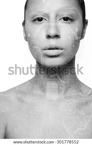 Double exposure business people - analyzing data, taking a break, discussing the tasks. - stock photo