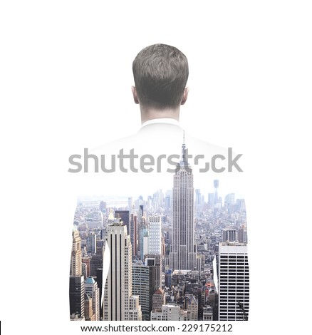 double exposure businessman and city - stock photo