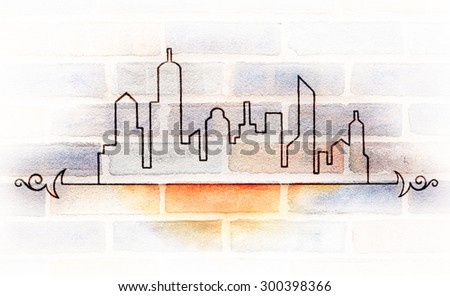 double exposure cityscape on urban brick wall, faded background, hand drawn black skyline outline silhouette with fancy curled art design elements, abstract architecture art design, contemporary urban - stock photo