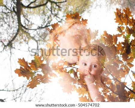 Double exposure. Concept of fall crop and maternity. Mother with her baby. Love and tenderness