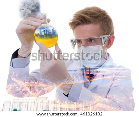 Double exposure concept of scientist with using oil experiments about oil refinery plant,pollution concept.