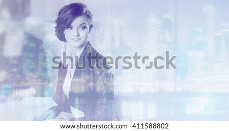 Double exposure concept with business woman and  metropolis on background. With special lighting effects