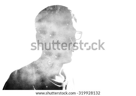 Double exposure effect on the photo with black silhouette on the white background and old vintage scratched and dirty paper - stock photo