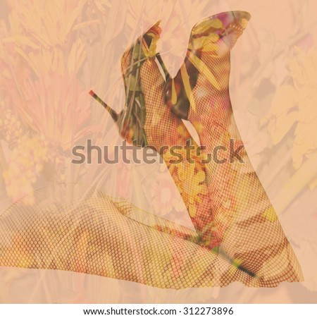 Double exposure female legs and high heels with flower background - Fashion and love romance concept - stock photo