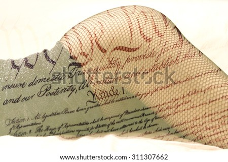 Double exposure female legs in fishnet stockings with US constitution background - Fashion and love romance concept - stock photo