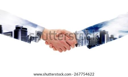 Double exposure handshake over a Bangkok city background. - stock photo