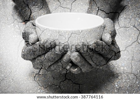 Double exposure hunger begging hands and dry soil. Represent that lot of people in the world are hungry and starvation, they need help and hope for better life - stock photo