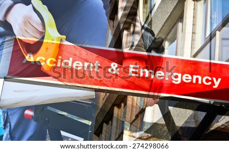 Double exposure image of a person sawing wood with a sign for accident and emergency - stock photo