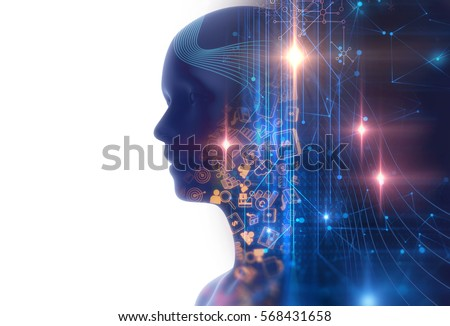 double exposure image of virtual human on business and learning technology background represent learning process
