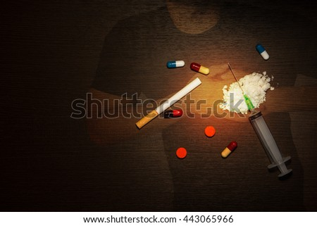 Double exposure man having chest pain - heart attack and drugs,syringe,cigarette. - stock photo