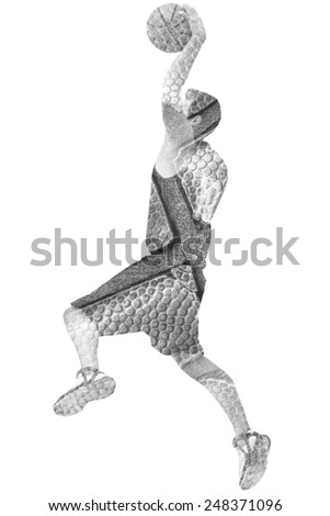 double exposure of a basketball player and ball in black and white - stock photo