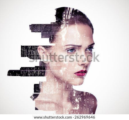 Double exposure of a beautiful girl and night cityscape - stock photo