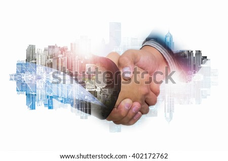 Double Exposure of a businessman handshake on the background blurred downtown nightlife. Concept of an agreement green energy.