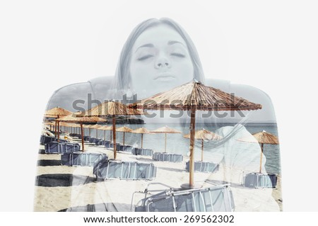 Double exposure of a female worker sitting in a chair and dreaming about beach - stock photo
