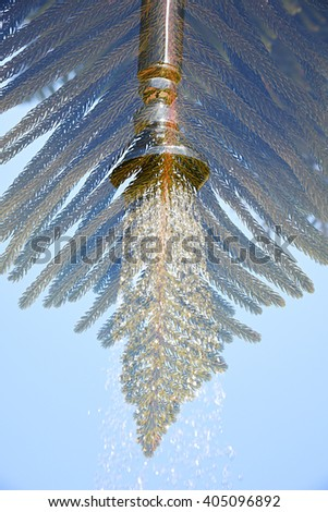 Double exposure of a shower tap and a fir branch taken with the camera - stock photo