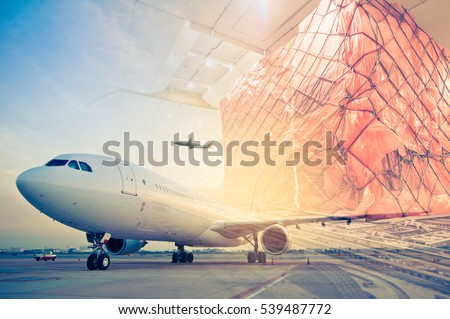 double exposure of air cargo freighter, retro vintage filter effect