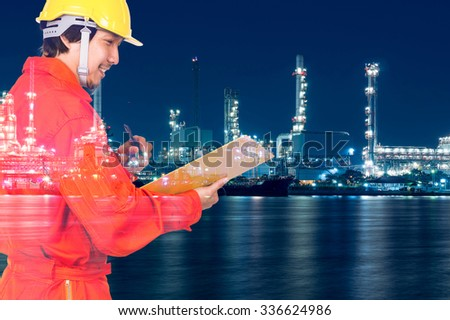 Double exposure of Asian engineers thinking and holding the note pad on Oil and gas refinery or Petrochemical factory at twilight time, industrial concept