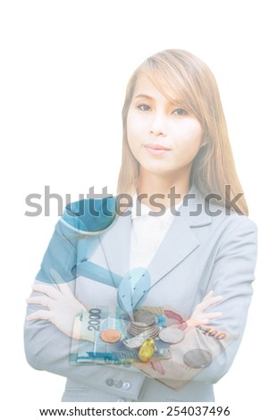 double exposure of beautiful asian businesswoman smiling over watering can and banknote,abstract background for  money concept. - stock photo