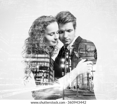 Double exposure of beautiful young couple - stock photo