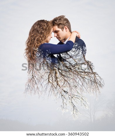 Double exposure of beautiful young couple