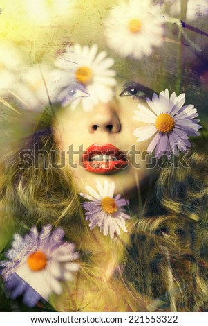 Double exposure of beautiful young woman portrait and chamomile flowers meadow, toned photo - stock photo