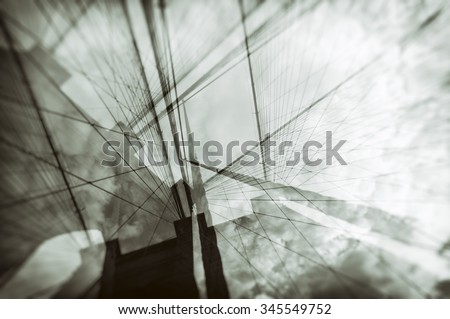 Double exposure of Brooklyn Bridge - stock photo