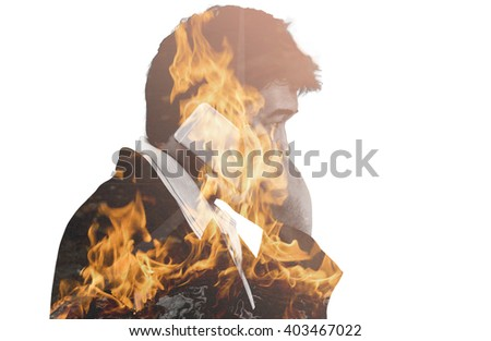 double exposure of business man and fire burn and way with cement - can use to  concept urgent situation - stock photo