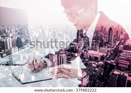 Double exposure of Business man signing a contract and city - stock photo