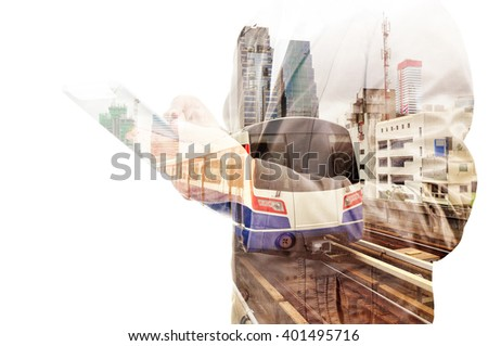 Double Exposure of Business Man use tablet and train or Subway as Modern City Transportation or Business Travel concept. - stock photo