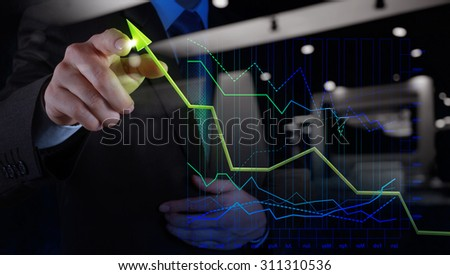 double exposure of businessman hand drawing virtual chart business on touch screen computer as concept