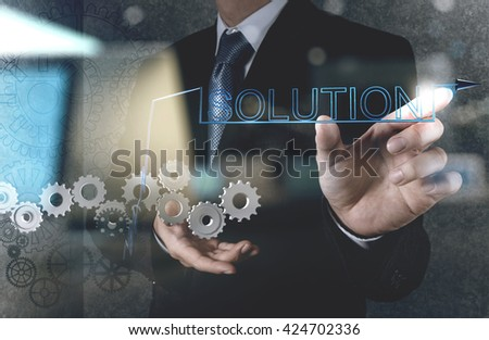 double exposure of businessman hand draws gear to solution concept - stock photo