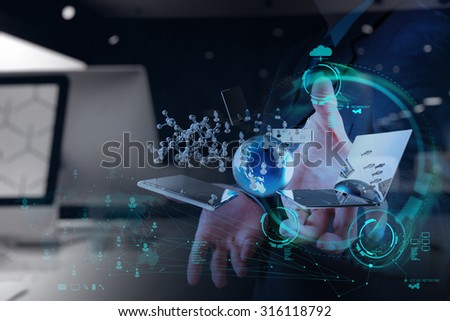 double exposure of businessman hand shows modern technology as concept - stock photo