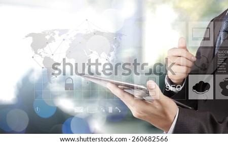 Double exposure of businessman hand shows modern technology as internet security concept
