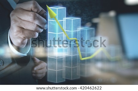 double exposure of businessman hand touch 3d virtual chart business as concept - stock photo