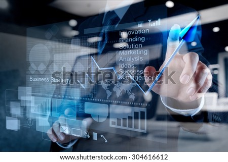 double exposure of businessman hand touch 3d virtual chart business strategy concept - stock photo