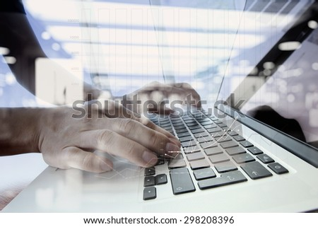 double exposure of businessman hand working with business documents on office table with laptop computer - stock photo