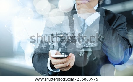 Double exposure of businessman shows modern technology as concept - stock photo