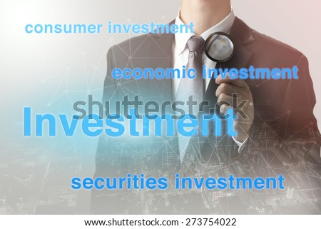 Double exposure of businessman with investment strategy