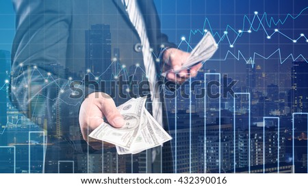 Double exposure of Businessman with money in hand , cityscape and financial graph on blurred building background, Business Trading concept,Forex graph - stock photo