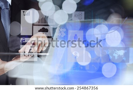 double exposure of businessman working with business strategy graph and digital cloud network concept