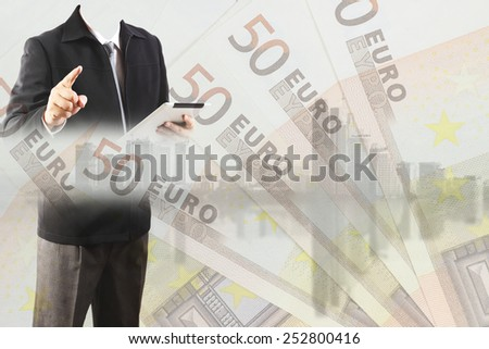 Double exposure of businessman working with new big city and EURO money  background and business strategy as concept
