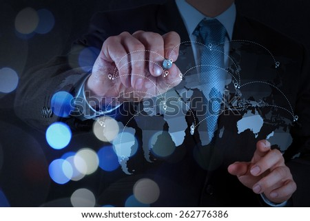 Double exposure of businessman working with new modern computer show social network structure as concept