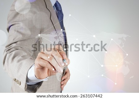 Double exposure of businessman working with new modern computer show social network structure as concept  - stock photo