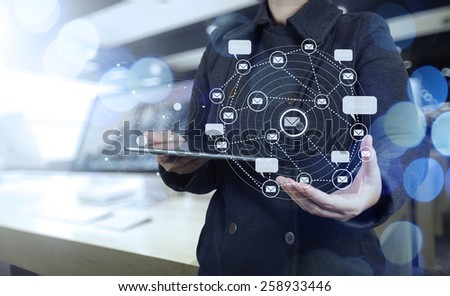 Double exposure of businesswoman shows modern technology as concept - stock photo