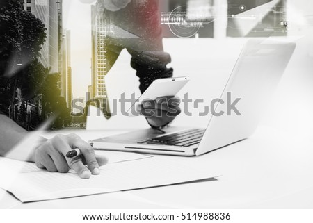 Double exposure of businesswomen using smart phone with blur city day and night and  connection network.