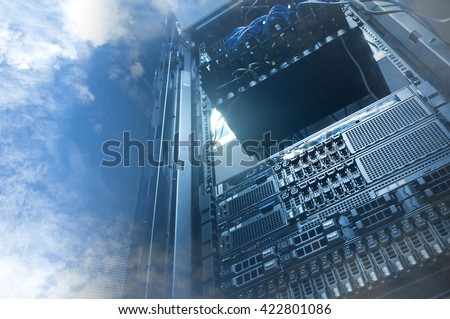 Double exposure of cloud and sky with servers computing technology in data center creative cloud concept  - stock photo