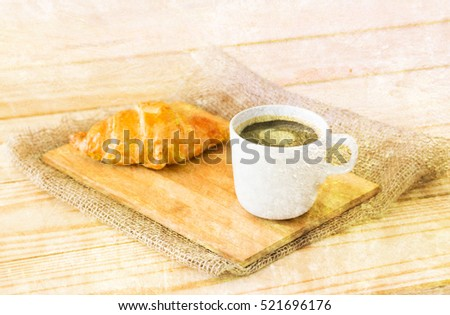 Double exposure of Coffee cup and croissant with old grunge cement wall background